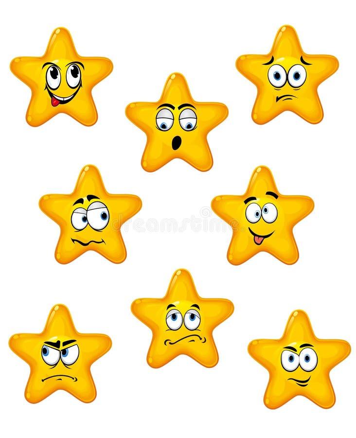 Звезды шаржа с различными эмоциями иллюстрация вектора