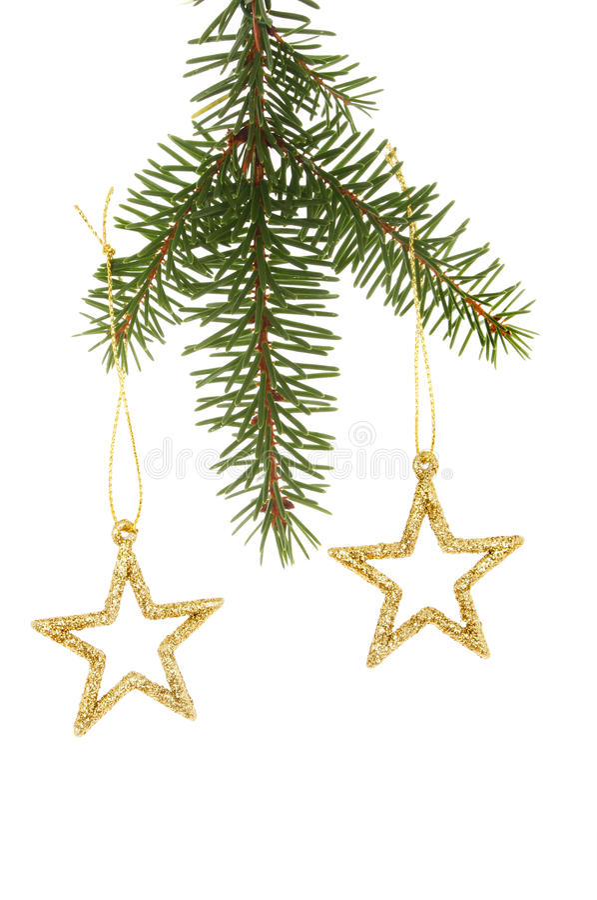 Звезды яркого блеска в рождественской елке стоковые изображения rf