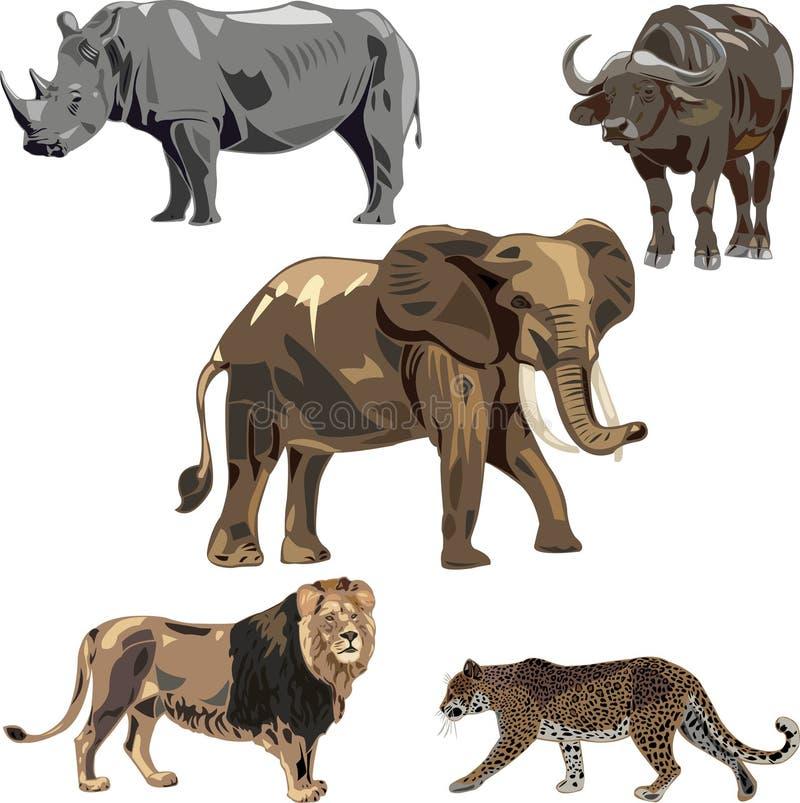 звери 5 s Африки одичалые иллюстрация штока