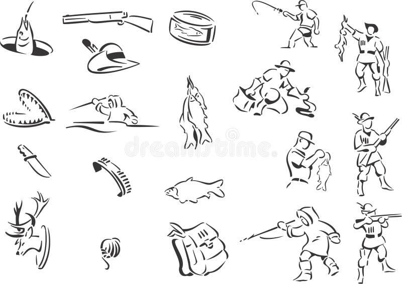 звероловство рыболовства иллюстрация вектора