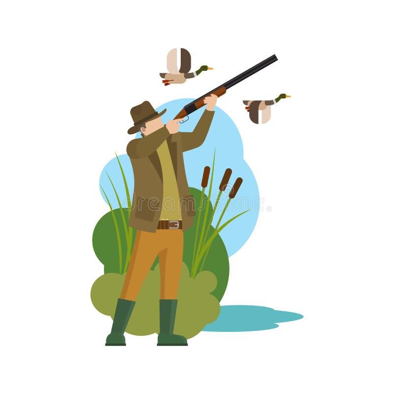 Звероловство утки охотника и добычи иллюстрация вектора