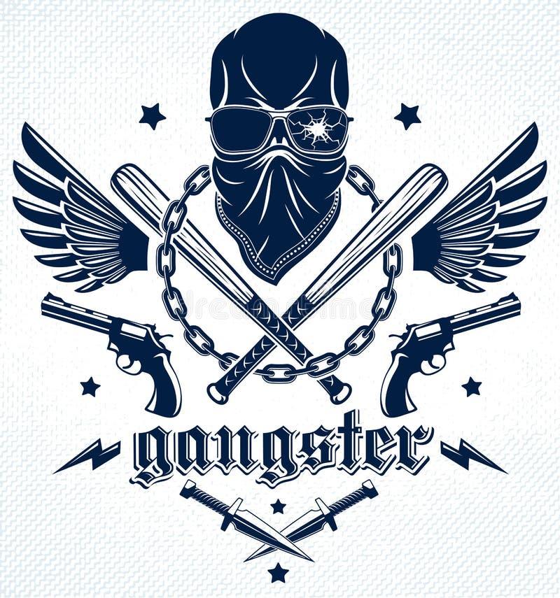 Зверские эмблема или логотип гангстера с агрессивными бейсбольными битами черепа и другими оружиями и элементами дизайна, преступ иллюстрация вектора