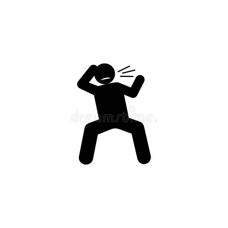 Зверский, враждебный, значок человека Элемент отрицательного значка черт характера r r иллюстрация штока