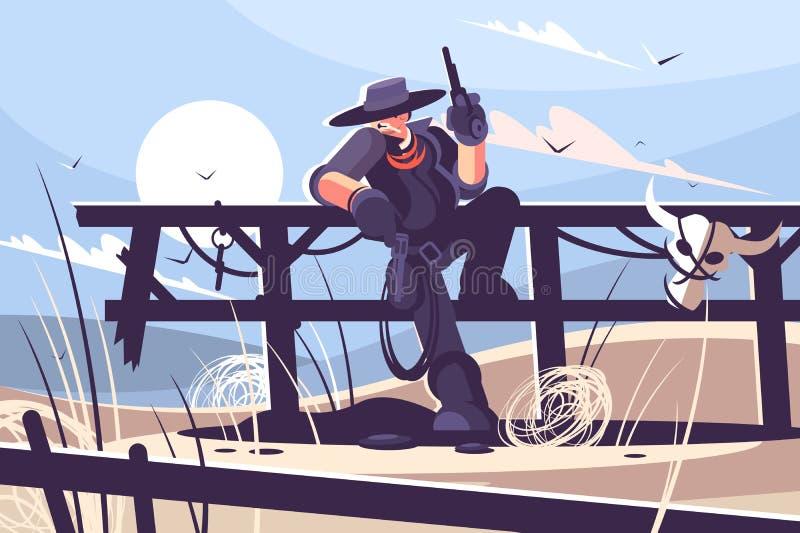 Зверский ковбой с шляпой и револьвер бесплатная иллюстрация