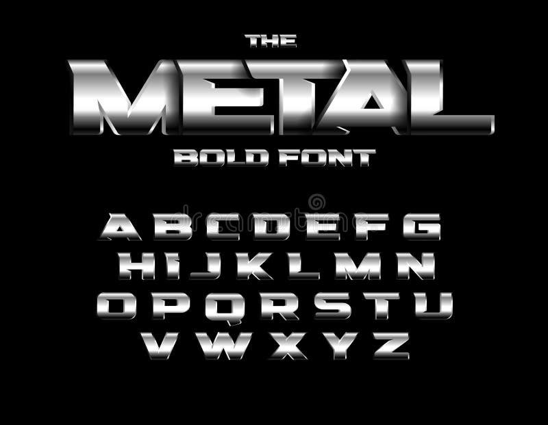 Зверский металлический шрифт стиля Установите жирных букв металла с хромом и стальным влиянием Дизайн алфавита вектора иллюстрация вектора