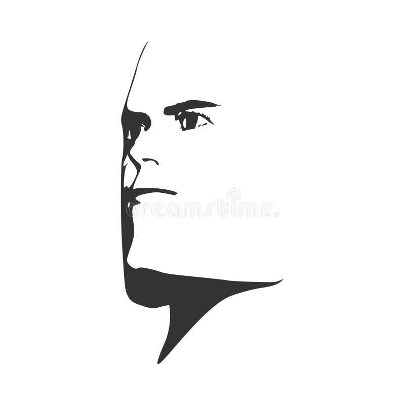 Зверский облыселый человек с бородой иллюстрация вектора