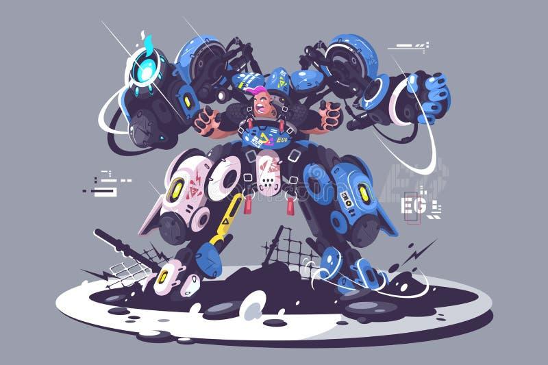 Зверский парень в экзоскелете боя иллюстрация вектора