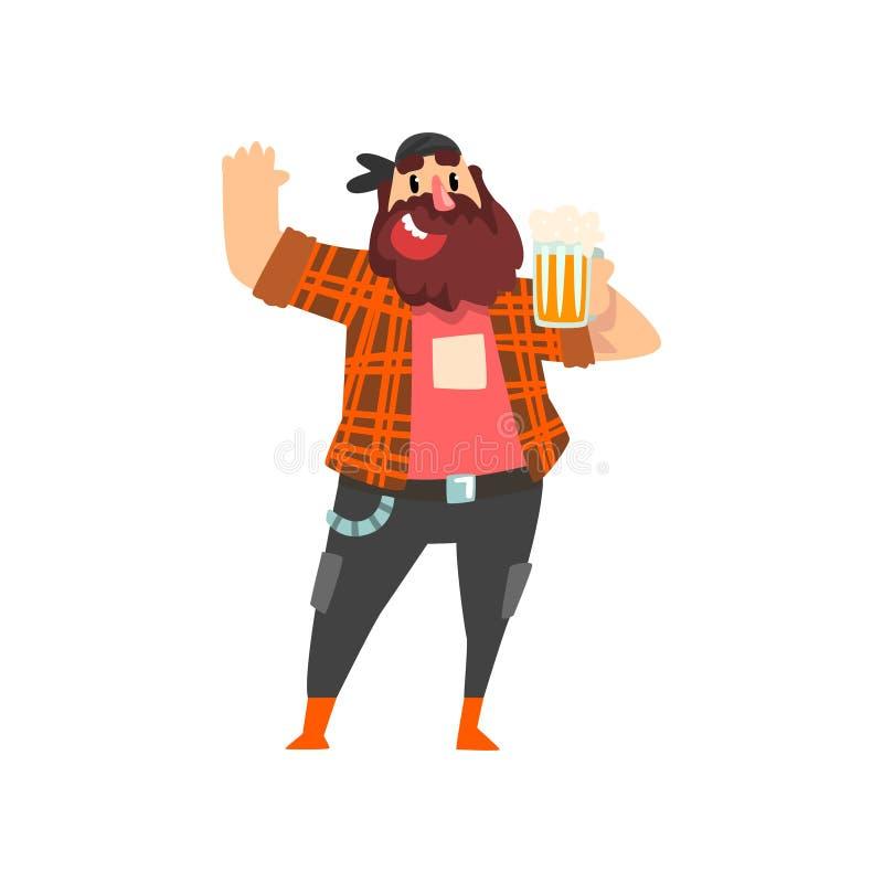 Зверский пьяный человек с кружкой пива в его руке, иллюстрации вектора алкоголя мужского характера выпивая бесплатная иллюстрация