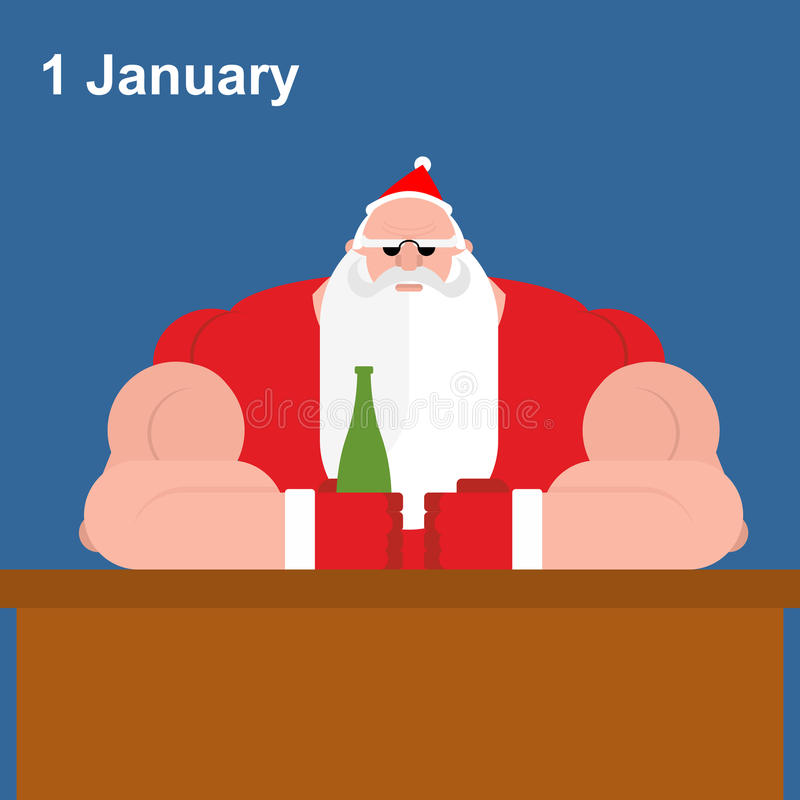 Зверский Санта Клаус на баре Сильный дед с пивной бутылкой иллюстрация вектора