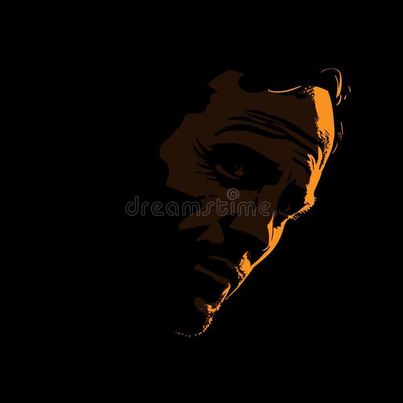 Зверский силуэт портрета человека в отличие освещает контржурным светом вектор иллюстрация штока