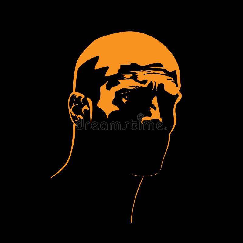Зверский силуэт портрета человека в отличие освещает контржурным светом вектор иллюстрация вектора