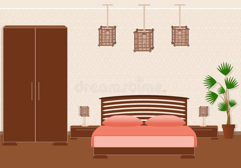 Зверский спартанский интерьер спальни стиля с мебелью бесплатная иллюстрация