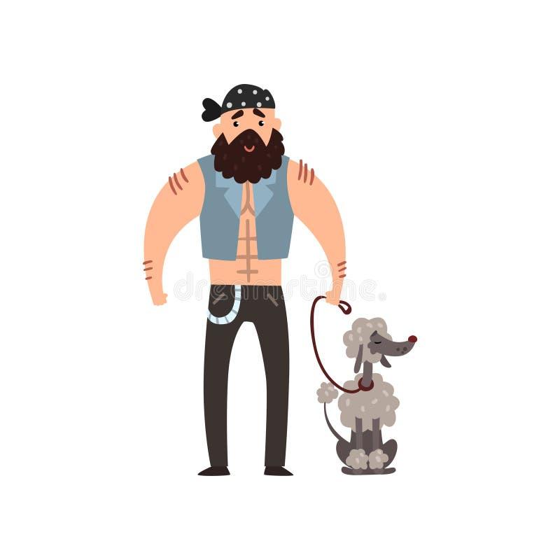 Зверский человек идя его иллюстрация вектора собаки пуделя на белой предпосылке иллюстрация штока