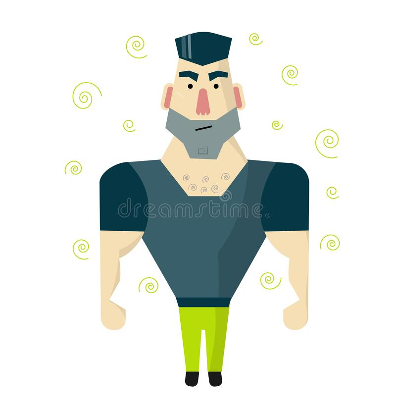 Зверский человек с большими мышцами Охранник или телохранитель иллюстрация штока