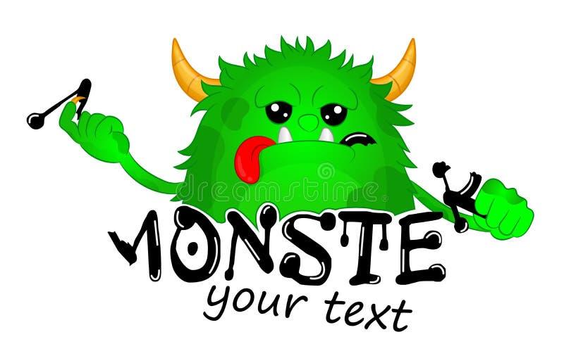 Зверь принял укус письма Милый шаблон логотипа вектора чудовища детей Чудовище голодного мультфильма волосатое Зеленый цвет хелло иллюстрация вектора