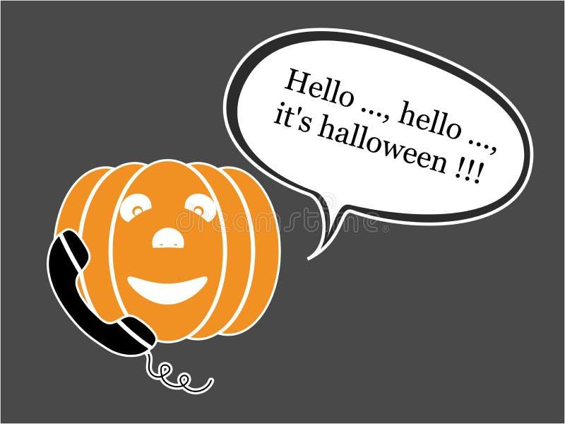 Звонить по телефону тыкве хеллоуина иллюстрация штока