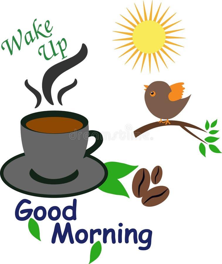 Звонок бодрствования доброго утра поднимающий вверх с кофейной чашкой бесплатная иллюстрация