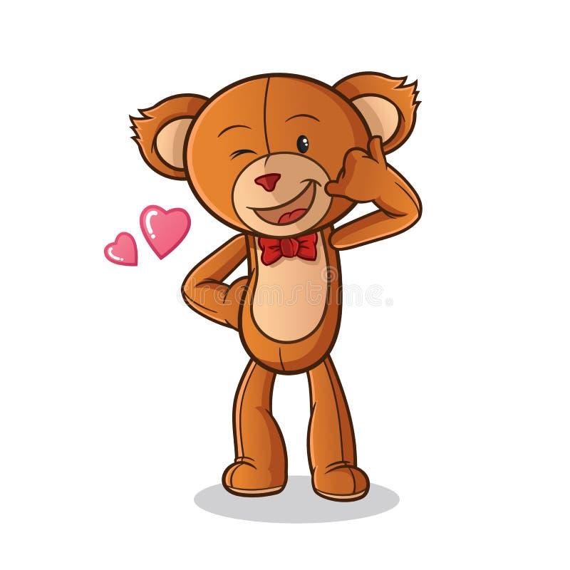 Звонок куклы плюшевого мишки я иллюстрация искусства мультфильма вектора талисмана младенца иллюстрация штока