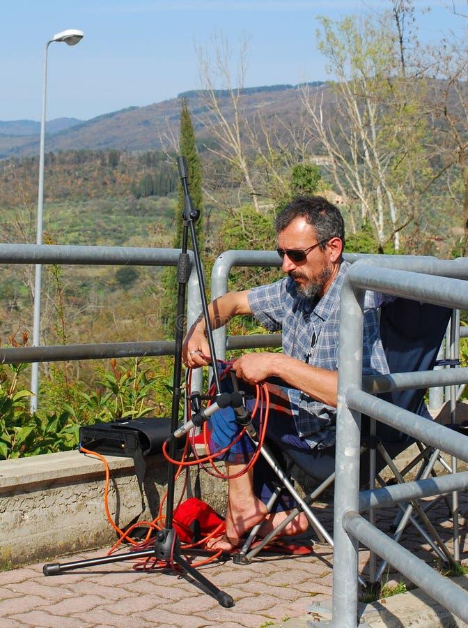 Звукооператор на работе стоковая фотография