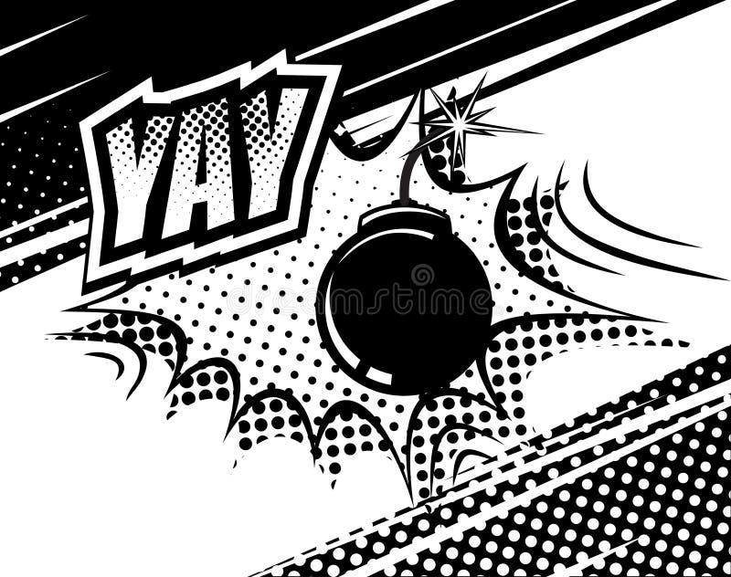 Звук YAY шуточный Пузыри и взрывы в стиле искусства шипучки Элементы конструкции также вектор иллюстрации притяжки corel иллюстрация штока