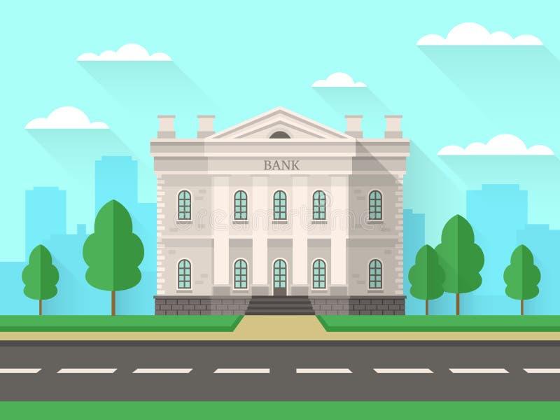Здание банка Дом правительства с офисом столбцов внешним финансовым в городском пейзаже Вектор квартиры банковского обслуживания иллюстрация вектора