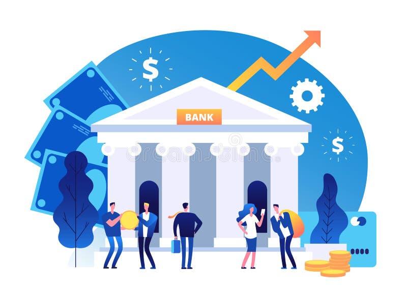 Здание банка r Фасад банка с концепцией дела мультфильма вектора бизнесмена иллюстрация вектора