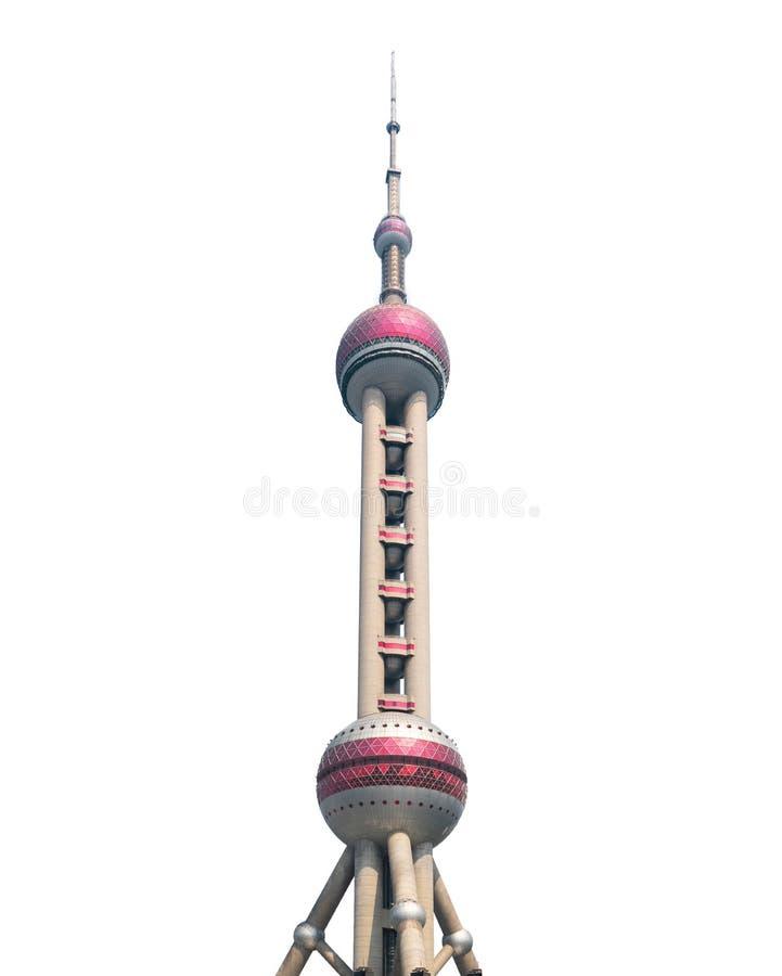 Здание башни ТВ жемчуга Шанхая восточное изолированное на белой предпосылке в горизонте Шанхая городском, Китае стоковая фотография rf