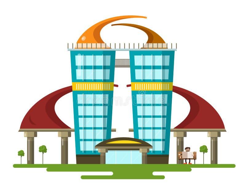Здание вектора дизайна конспекта современное плоское иллюстрация вектора