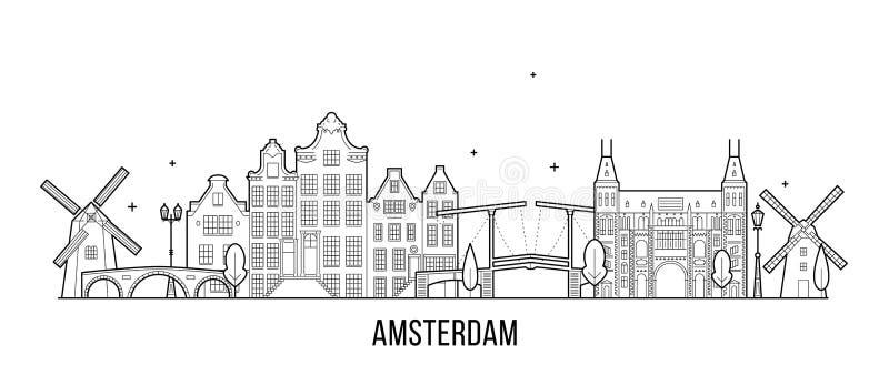 Здание города вектора горизонта Амстердама нидерландское бесплатная иллюстрация