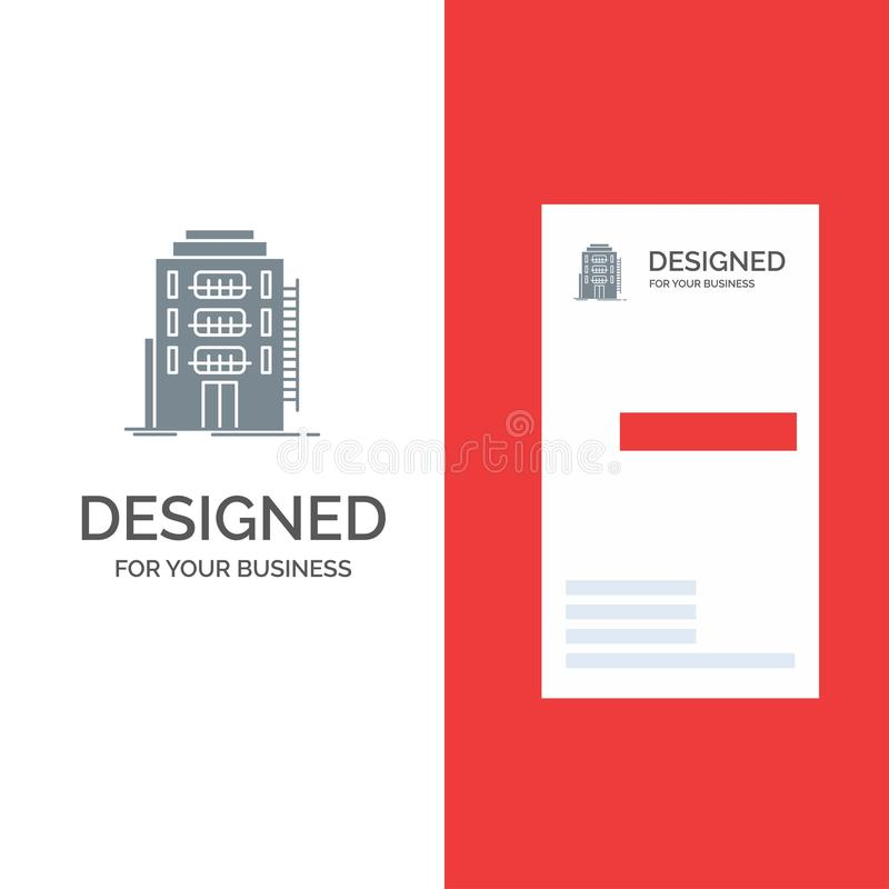 Здание, город, спальня, общежитие, дизайн логотипа гостиницы серые и шаблон визитной карточки иллюстрация вектора