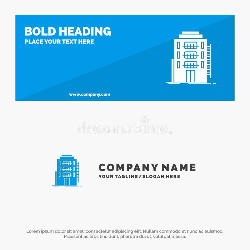 Здание, город, спальня, общежитие, знамя вебсайта значка гостиницы твердые и шаблон логотипа дела иллюстрация штока