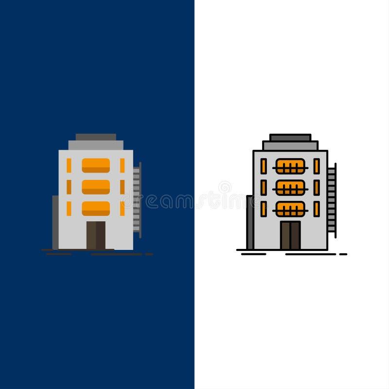 Здание, город, спальня, общежитие, значки гостиницы Квартира и линия заполненный значок установили предпосылку вектора голубую иллюстрация вектора