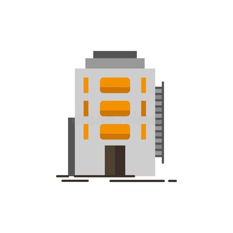 Здание, город, спальня, общежитие, значок цвета гостиницы плоский Шаблон знамени значка вектора бесплатная иллюстрация