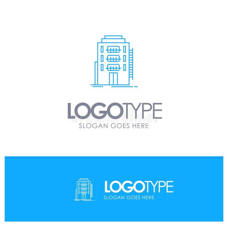 Здание, город, спальня, общежитие, логотип плана гостиницы голубой с местом для слогана иллюстрация штока