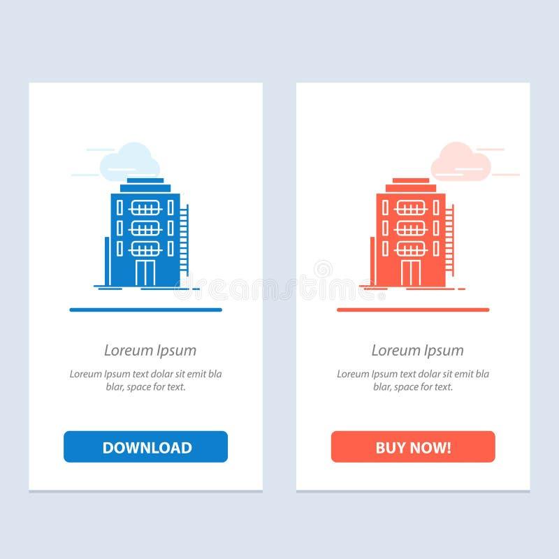 Здание, город, спальня, общежитие, синь гостиницы и красная загрузка и купить теперь шаблон карты приспособления сети иллюстрация вектора