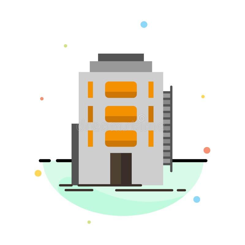 Здание, город, спальня, общежитие, шаблон значка цвета конспекта гостиницы плоский иллюстрация штока