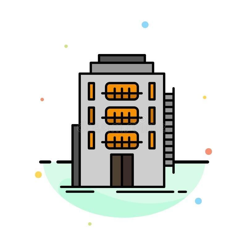 Здание, город, спальня, общежитие, шаблон значка цвета конспекта гостиницы плоский бесплатная иллюстрация