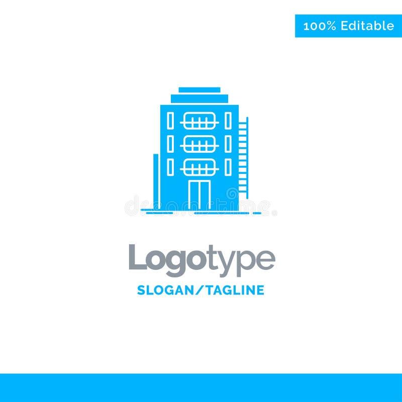 Здание, город, спальня, общежитие, шаблон логотипа гостиницы голубой твердый r иллюстрация вектора