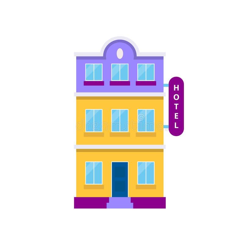 Здание гостиницы, изолированная иллюстрация вектора в плоском стиле, значке для туризма, резервирования, гостеприимства, праздник иллюстрация вектора
