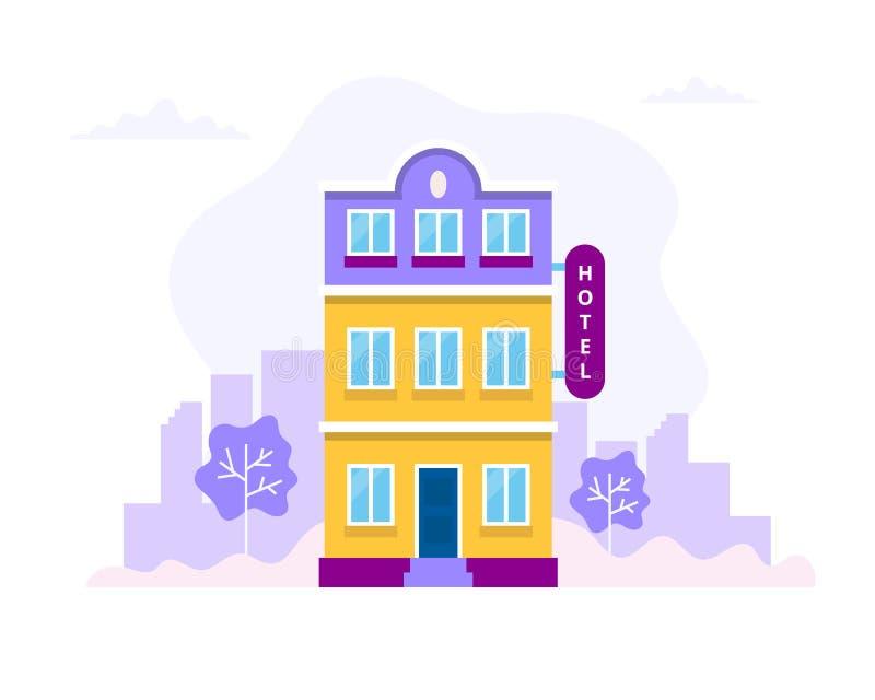 Здание гостиницы с предпосылкой города Иллюстрация вектора концепции в плоском стиле для записывать, резервирование, перемещение иллюстрация вектора