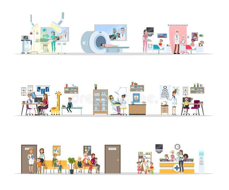Здание детской больницы иллюстрация вектора