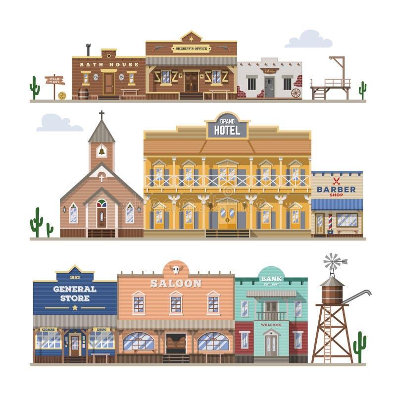 Здание Диких Западов вектора салона и западные ковбои расквартировывают или бар в иллюстрации улицы одичало установленной ландшаф иллюстрация вектора