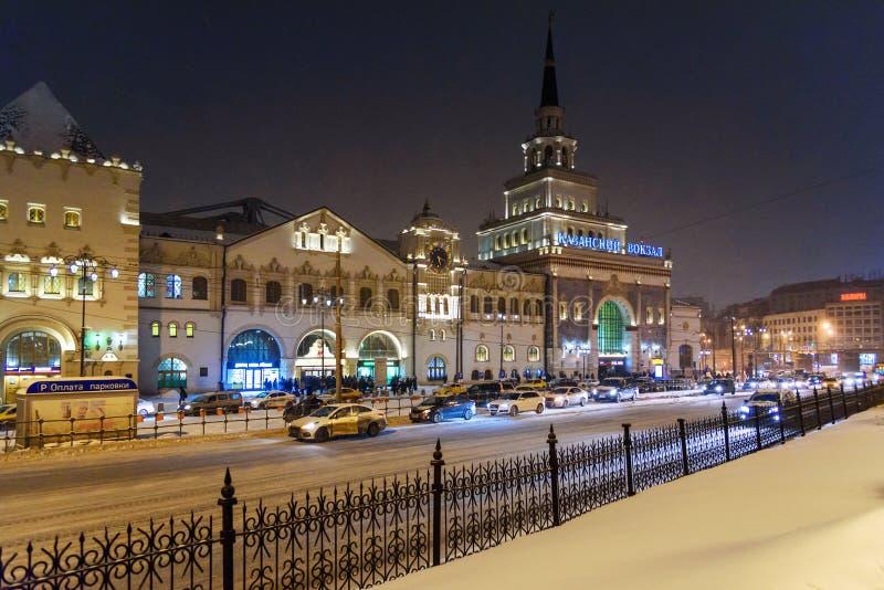 Здание железнодорожного вокзала Kazansky на ноче в зиме moscow Россия стоковое изображение