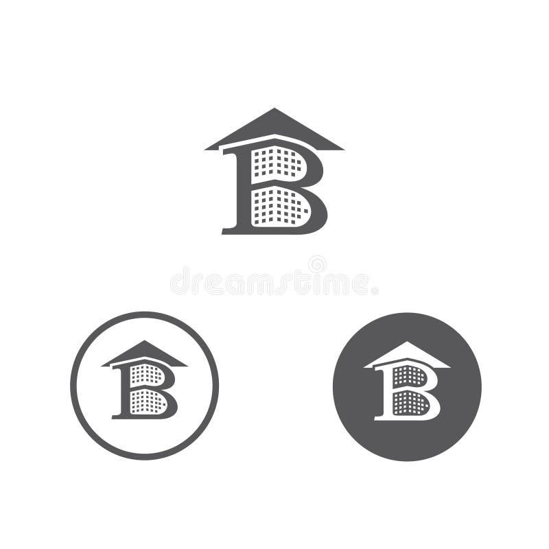 Здание и крыша b письма иллюстрации вектора для строительной фирмы бесплатная иллюстрация
