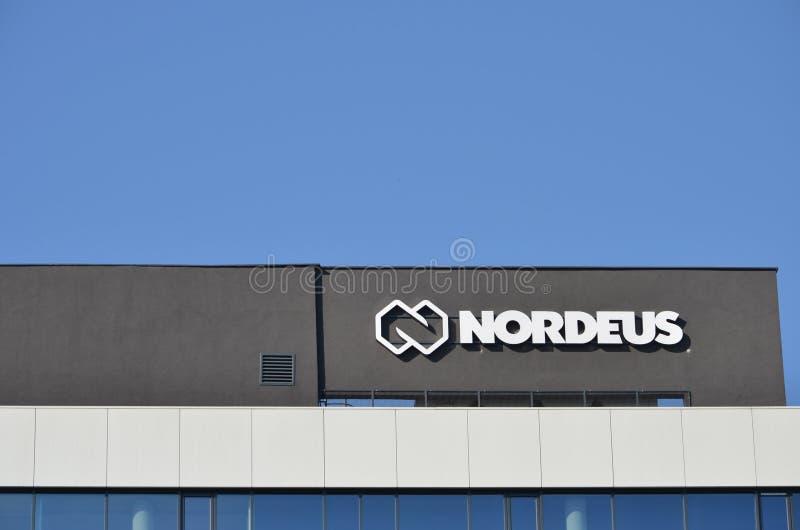 Здание и логотип Nordeus стоковая фотография rf