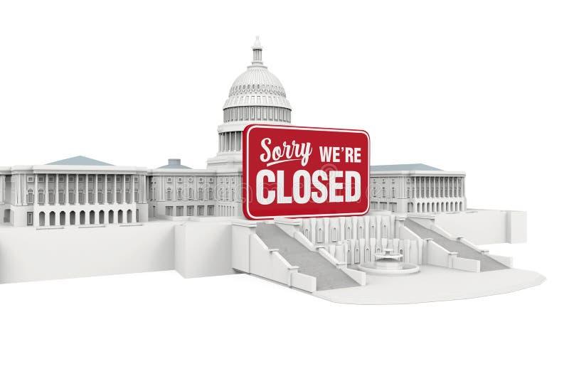 Здание капитолия Соединенных Штатов с закрытым знаком Иллюстрация выключения правительства иллюстрация вектора