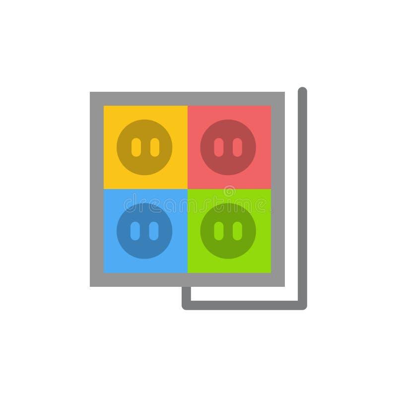 Здание, конструкция, штепсельная вилка, гнездо, значок цвета инструмента плоский Шаблон знамени значка вектора иллюстрация вектора