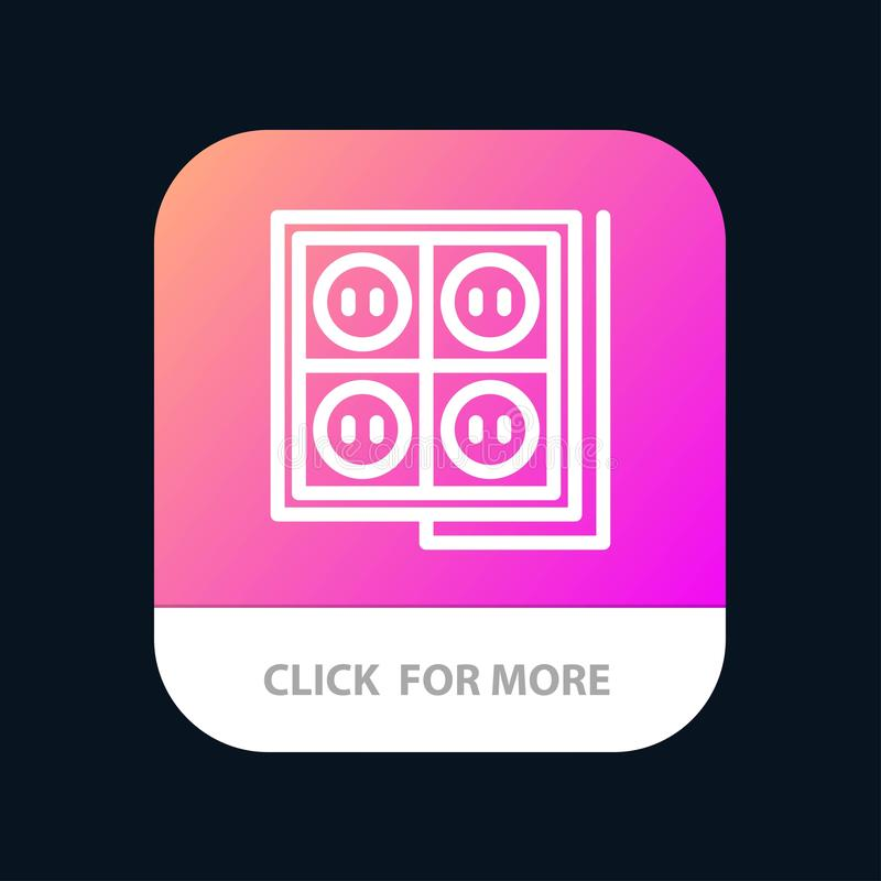 Здание, конструкция, штепсельная вилка, гнездо, кнопка приложения инструмента мобильная Андроид и линия версия IOS иллюстрация штока