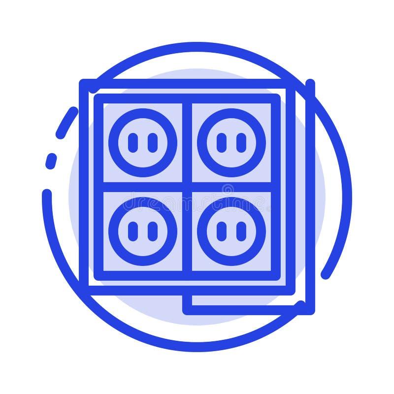 Здание, конструкция, штепсельная вилка, гнездо, линия значок голубой пунктирной линии инструмента бесплатная иллюстрация