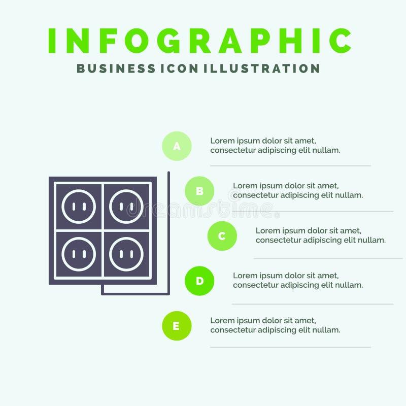 Здание, конструкция, штепсельная вилка, гнездо, предпосылка представления шагов Infographics 5 значка инструмента твердая иллюстрация штока